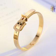 Couple Love Bracelets Gold Titanium Steel Belt Buckle Open Cuff Bangle Men Women