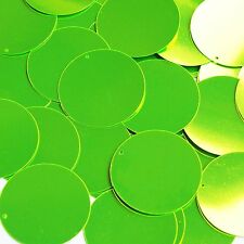 """Lime Green Fluorescent Shiny Metallic Sequin Round 1.5"""" Large Couture Paillettes"""