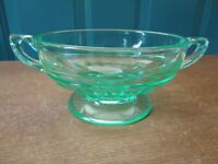 Green Vaseline Depression Glass Footed Cream Soup Bowl with Handles