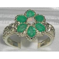 Solid ENGLISH Sterling Silver ARDENTE Opale & SMERALDO Art Nouveau Fiore Anello