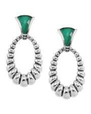 NEW LAGOS Green Venus Caviar Fluted Malachite Oval Drop Earrings $595