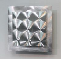 Silver Modern Metal Wall Art Accet, Abstract Square Decor - Prizm 2 by Jon Allen