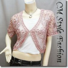 Sequined Embroidery Shrug Glam Bolero Top Pink M