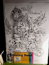 Adult coloring sheet, coloring page, Poster by Linda Biggs Fairie Art 12x17