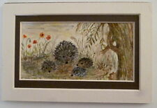 WATERCOLOUR MINIATURE OF HEDGEHOGS IN A DOUBLE MOUNT - SIGNED