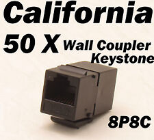 50 X pcs Lot CAT6 Inline RJ45 Keystone Wall Coupler Jack Adapter 8P8C CAT5 CAT5e
