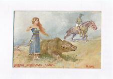 Gemalt auf Karton Deutsche Heldensagen Bisula um 1910 painting Bär signiert