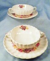 2 Copeland Spode Rose Briar Cream Soups & Saucers Chelsea Wicker Floral 2/7896