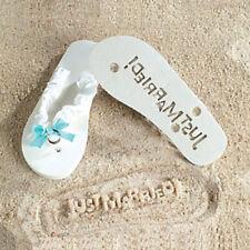 Just Married Flip Flops Wedding Bridal Sandals Large Brides White & Blue