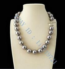 """14mm AAA+ Gray South Sea shell Pearl Necklace 18"""""""