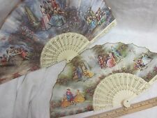 Vtg Lot Ladies Fan Off White Ivory Plastic Vane Spain Courting Couple Fabric