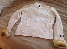 Cold As Ice Sweater Cardigan Size M Zipper Front Faux Fur Cuffs Great Condition