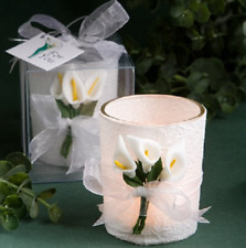 Stunning Calla Lily Design Candle Favors White