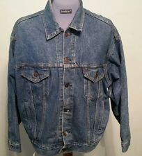 Levis Jean Jacket Size Large Blue Denim Trucker Worn Men 0214