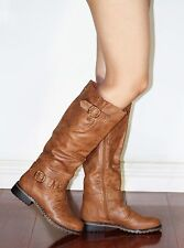 dillian-7 New Knee High Synthetic Zipper Bluckle Winter Women Boots Cognac 8