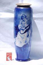 Antique Royal Doulton Blue Children Flambe Vase Large - 36.5cm High