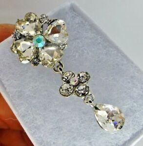 Art Deco style Rhinestone dropper brooch vintage style crystal dangle gift box