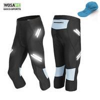 WOSAWE Mens Padded Cycling 3/4 Pants MTB Bike Shorts Bicycle Tights Riding Black