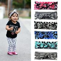 Baby Girl Bow Knot Plaid Hair Band Rabbit Ears Turban Headband