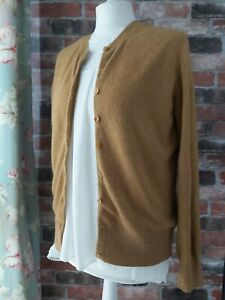 MARKS & SPENCERS AUTOGRAPH CASHMERE GOLD METALIC LONG SLEEVE CARDIGAN SIZE 12
