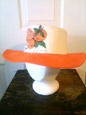 "Vintage 1975 ""Smell It Like It Is"" Oranges Gardening Hat Fabric Orange and Cream"