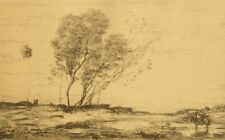 Antique lithograph engraving from the etching by Corot 1920's