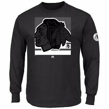 NHL Shirt Chicago Blackhawks Longsleeve Langarm Slashing schwarz black Eishockey