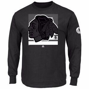 NHL Shirt Chicago Blackhawks Long Sleeve Shirt Slashing Black Ice Hockey