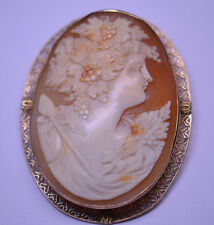 Pin Pendant Baccante Maiden Grapes Filigree Antique 14K Yellow Gold Huge Cameo