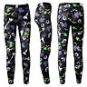 Ladies Spooky Halloween Skulls Ghosts Eyeballs Spiders Web Leggings Size 8-22