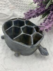 ANTIQUE Metal TURTLE Flower Frog Ikebana 10 Holes VINTAGE GARDEN PATINA  🌺
