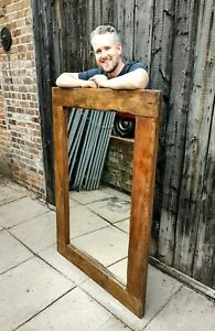 HUGE ANTIQUE MIRROR VICTORIAN PINE FRAME BEAUTIFUL OVERSIZED OVERMANTEL CHUNKY