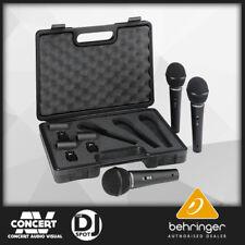 Behringer Ultravoice XM1800S 3 Dynamic Cardiod Microphones w/ Case & Clips