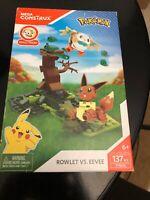 Pokemon Rowlet Vs. Eevee Mega Construx Building Set Imperfect Package RARE