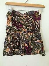 Anthropologie Fei Strapless pleat Front Top w/Pockets Leaf Print sz 2
