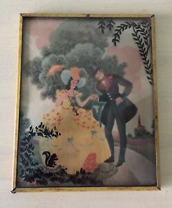 BUBBLE GLASS SILHOUETTE Vtg Mid Century Modern Victorian Couple Picture Framed
