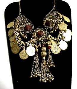 **NECKLACE GOLD COIN & CUSTOM RED TIGER EYE MEDALLION CHOKER, TRIBAL BELLY DANCE