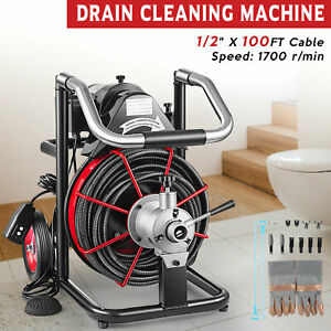 Electric 100ft x 1/2'' Drain Auger Cleaner Cleaning Machine Plumbing Sewer Snake