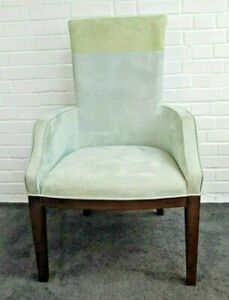 Green Two Tone Suede Scroll Back Chair with Arms