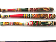 1 Hand Carved Aztec Bat Pinata Stick Mexico Mexican Hand Painted Wooden Baseball