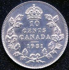 1931 Canada 10 Cent Silver Coin (2.33 Grams .800 Silver)