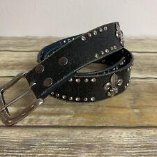 "Studded Genuine Leather bling Belt women's Size M 33""-35"" 1 3/4"" Wide Vera Pelle"