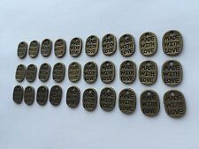 30 pieces - made with love tag rustic brass colour bead - 1.1cm x 0.8cm