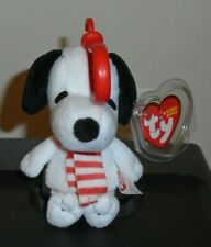 Ty Beanie Baby Key Clip ~ WINTER SNOOPY the Dog (Peanuts ~ 4.5 Inch) MWMT