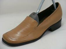 Nine West Designer 8 M Tan Leather Womens Stylish Slip Ons Loafers Shoes COMFORT