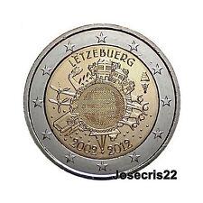2€ CONMEMORATIVA LUXEMBURGO 2012: 10 AÑOS CIRCULACIÓN MONEDAS Y BILLETES TYE. SC