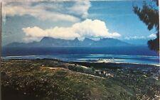 Moorea view from Tipaeuri with FAAA airport Papeete Tahiti postcard cir 1960