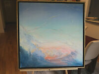 ORIGNL ART OIL ON CANVAS PAINTING CLOUDS W MOON &VENUS AT DUSK N. NADZO 24X24""