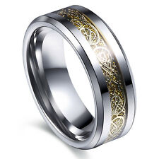 Titanium Stainless Steel Mens Silvery Celtic Dragon Wedding Band Rings Size 7-14