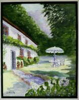 "M JANE DOYLE SIGNED ORIG. ART OIL/CANV PAINTING ""REST-A-WHILE""(COUNTRY ESTATE)FR"